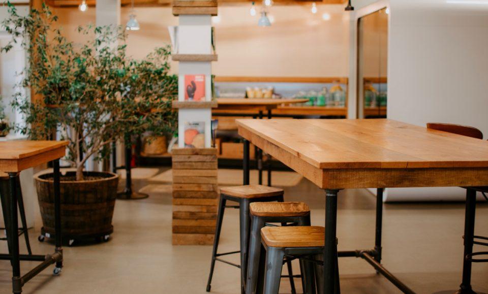 table, stools, wood
